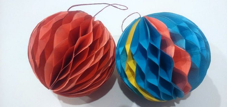 Christmas balls made of paper in the form of Chinese lanterns